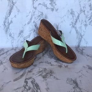 👠BOGO! Sam Edelman Mint Green Cork Wedges 10